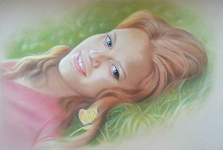 Настоящий портрет пастелью для любимой девушки в Кемерово, просто и со вкусом!