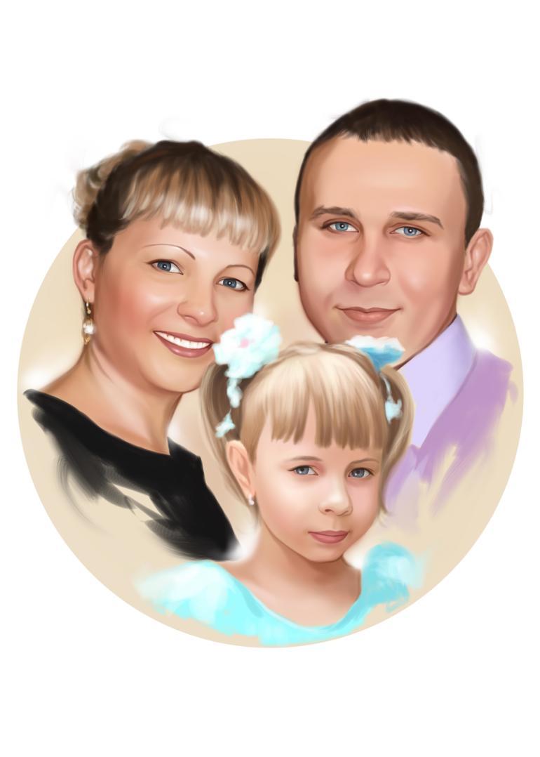 Семейный портрет по фото на холсте в Кемерово — правильный подарок!