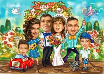 Шарж по фото на годовщину свадьбы на заказ в Кемерово…